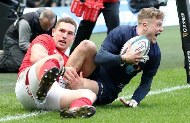 Scotland's Darcy Graham scores against Wales