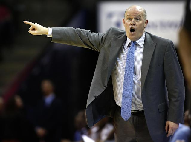 Charlotte Bobcats coach Steve Clifford directs his team as they play the Toronto Raptors in an NBA basketball game Monday, Jan. 20, 2014 in Charlotte, N.C. Charlotte won 100-95. (AP Photo/Nell Redmond)