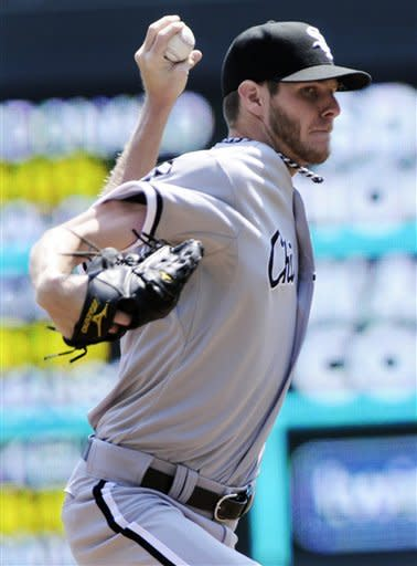 Chicago White Sox pitcher Chris Sale throws against the Minnesota Twins in the first inning of a baseball game, Wednesday, June 27, 2012 in Minneapolis. (AP Photo/Jim Mone)