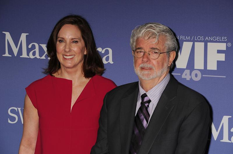 BEVERLY HILLS, CA- JUNE 12: Producer Kathleen Kennedy and producer/director George Lucas attend Women In Film's 2013 Crystal + Lucy Awards at The Beverly Hilton Hotel on June 12, 2013 in Beverly Hills, California.(Photo by Jeffrey Mayer/WireImage)