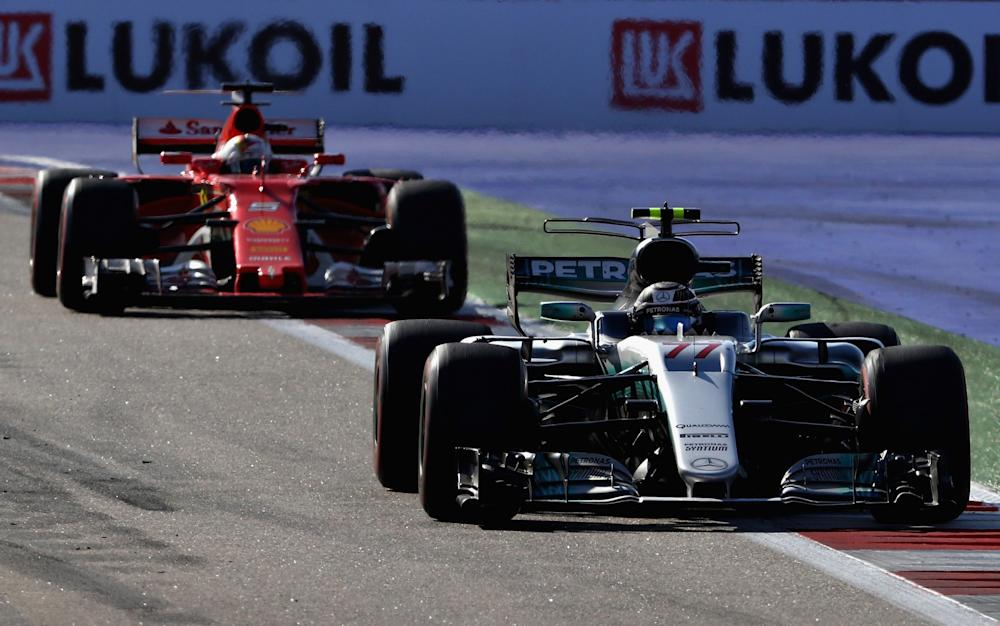 Valtteri Bottas wins his first Grand Prix ahead of Sebastian Vettel - Credit: Clive Mason/Getty Images Europe