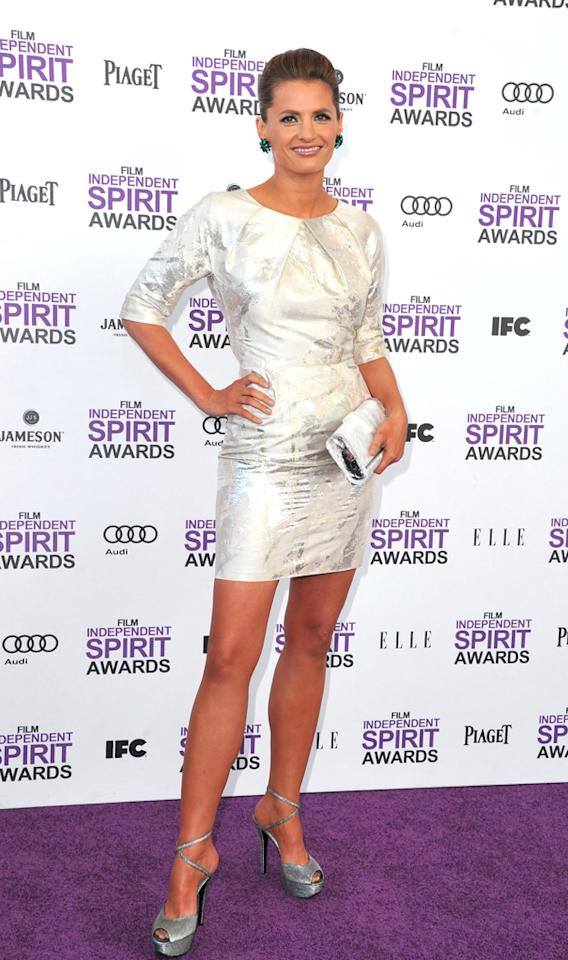 """""""Castle's"""" Stana Katic opted for a polished and pretty look thanks to her silver dress. She may have hidden her arms with the three-quarter length sleeves, but she sure showed off her killer legs!"""