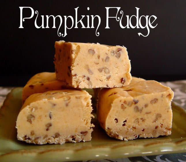 """What better time to try out making fudge than on Thanksgiving? It's a bit of a project, so the long weekend seems ideal to us. <a href=""""http://jamiecooksitup.net/2011/10/pumpkin-fudge/"""" rel=""""nofollow noopener"""" target=""""_blank"""" data-ylk=""""slk:Find the recipe at Jamie Cooks It Up"""" class=""""link rapid-noclick-resp"""">Find the recipe at Jamie Cooks It Up</a>."""