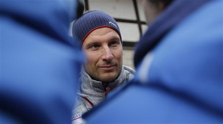 Norway's Aksel Lund Svindal speaks to journalists at the Rosa Khutor Alpine Skiing resort February 17, 2014. REUTERS/Leonhard Foeger