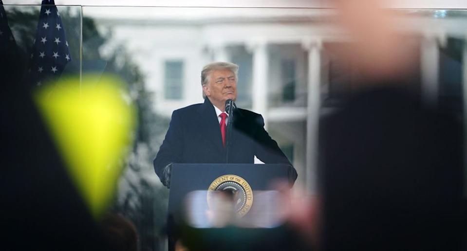 US President Donald Trump speaks to supporters from The Ellipse near the White House on January 6. Source: Getty
