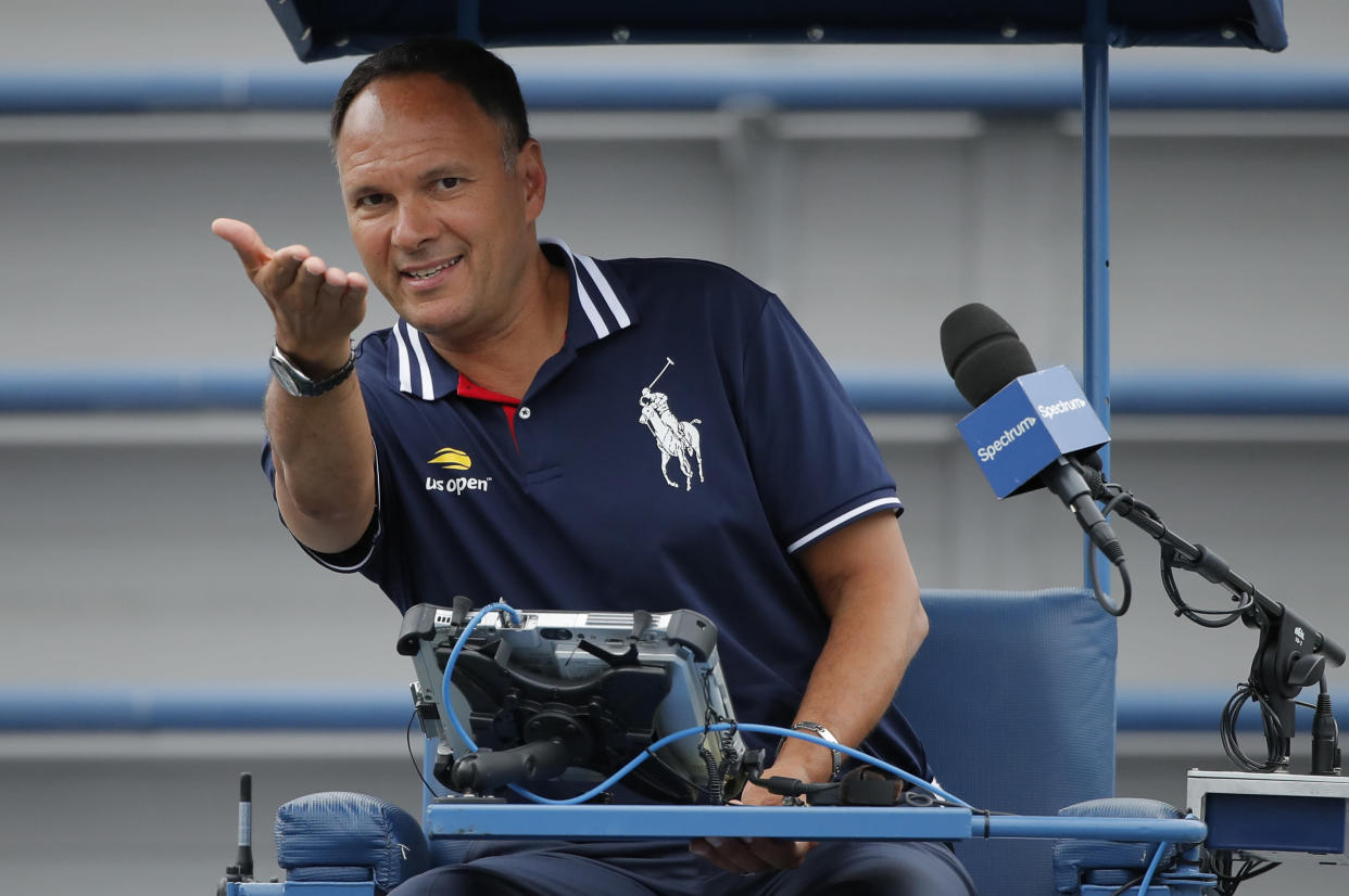 In this Aug. 31, 2018, file photo, chair umpire Mohamed Lahyani gives instructions before a doubles match during the U.S. Open tennis tournament, in New York. (AP Photo/Carolyn Kaster, File)