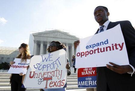 Students calling for diversity protest outside the U.S. Supreme Court in Washington