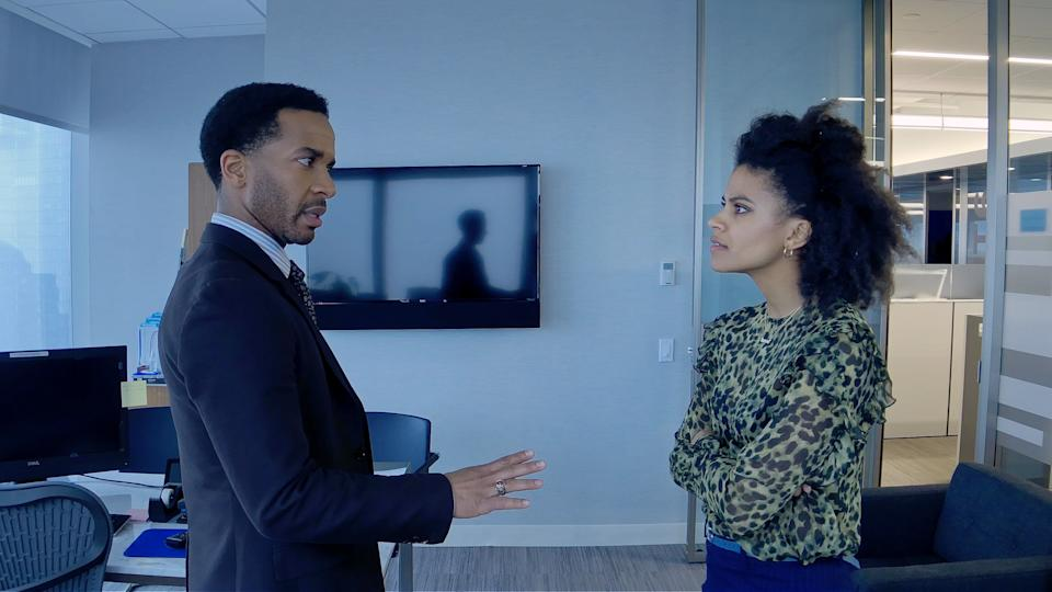 "André Holland and Zazie Beetz in ""High Flying Bird."" (Photo: Netflix)"