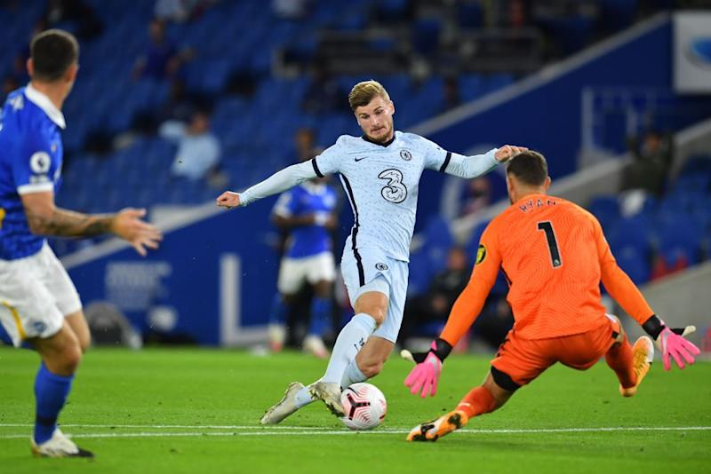 Timo Werner wins a penalty against BrightonPOOL/AFP via Getty Images