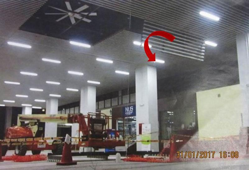 A photo showing the ceiling panel on which Miah Jobayed had been standing on when it gave way. (PHOTO: Ministry of Manpower)