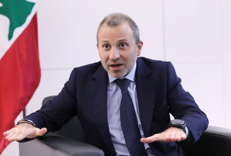 Gebran Bassil, a Lebanese politician and head of the Free Patriotic movement, talks during an interview with Reuters in Sin-el-fil