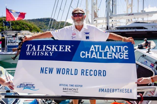 Frank Rothwell, 70, from Oldham, who has become the oldest person to row 3,000 miles unassisted across the Atlantic
