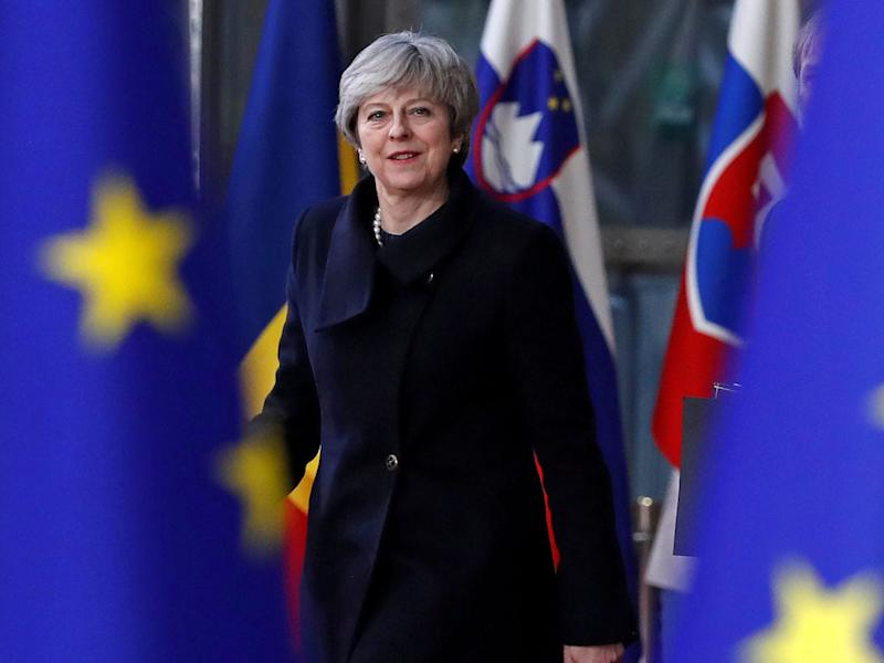 Theresa May arrives for the European Union summit in Brussels: Reuters
