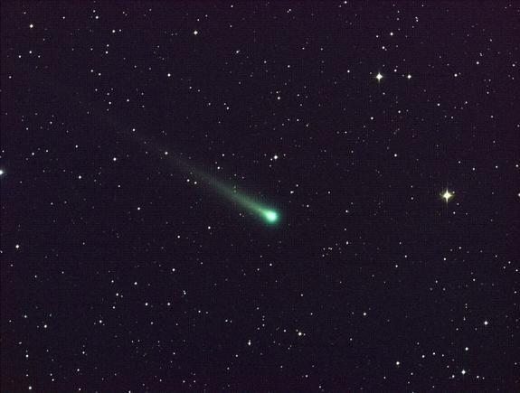 Comet ISON shines in this five-minute exposure taken at NASA's Marshall Space Flight Center on Nov. 8. At the time, the comet was 97 million miles from Earth, heading toward a close encounter with the sun on Nov. 28. Located in the constellatio