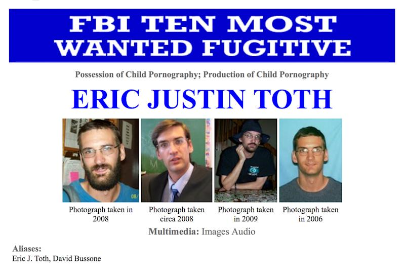 "This image made from the Federal Bureau of Investigation ""Ten Most Wanted"" section of the website on Wednesday, April 11, 2012 shows Eric Justin Toth. A former Washington private school teacher who was captured in Nicaragua after a year on the FBI's ""Ten Most Wanted"" fugitives list is scheduled to be sentenced in a child pornography case. Eric Toth's hearing is set for Tuesday in Washington. (AP Photo/FBI)"