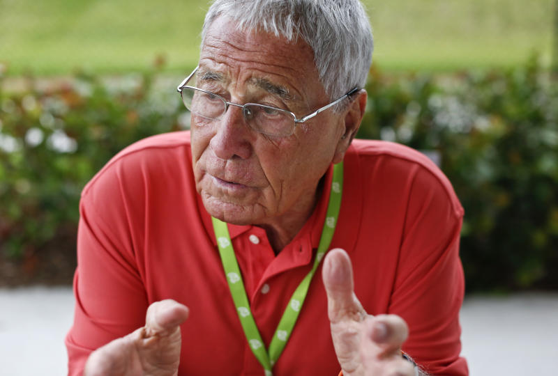 In this Saturday, March 16, 2019 photo, former major league baseball manager, Jack McKeon sits at a table during an interview with the Associated Press before an exhibition spring training baseball game in West Palm Beach, Fla. Trader Jack is back at spring training and couldn't be happier. Now a special adviser to the general manager for the Washington Nationals, McKeon feels refreshed after a bit of a break from his sport, the place that's been his world for most of his 88 years. (AP Photo/Brynn Anderson)