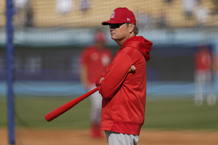 St. Louis Cardinals manager Mike Shildt (8) stands on the field during batting practice before a National League Wild Card playoff baseball game against the Los Angeles Dodgers Wednesday, Oct. 6, 2021, in Los Angeles. (AP Photo/Marcio Sanchez)
