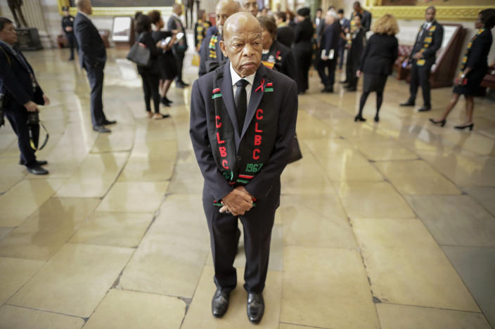 Rep. John Lewis, D-Ga., and other members of the Congressional Black Caucus line up as they wait to enter as a group to attend the memorial services for Rep. Elijah Cummings, D-Md., at the U.S. Capitol in Washington on Oct. 24, 2019. (Photo: Pablo Martinez Monsivais, pool/AP)