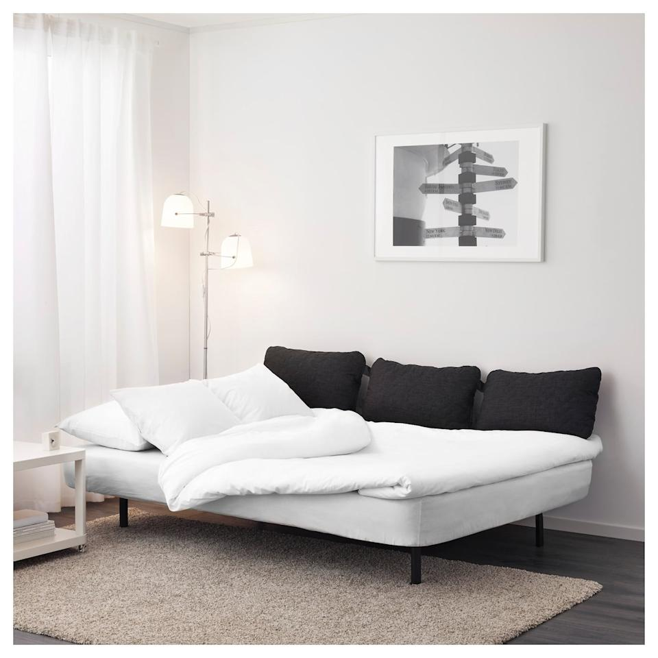 """<p>With a single click, the <a href=""""https://www.popsugar.com/buy/Nyhamn-Sleeper-Sofa-508378?p_name=Nyhamn%20Sleeper%20Sofa&retailer=ikea.com&pid=508378&price=199&evar1=casa%3Aus&evar9=36179434&evar98=https%3A%2F%2Fwww.popsugar.com%2Fhome%2Fphoto-gallery%2F36179434%2Fimage%2F46823863%2FNyhamn-Sleeper-Sofa&list1=shopping%2Cgifts%2Choliday%2Cgift%20guide%2Cikea%2Cdecor%20shopping%2Choliday%20living%2Cdecor%20gifts&prop13=api&pdata=1"""" rel=""""nofollow"""" data-shoppable-link=""""1"""" target=""""_blank"""" class=""""ga-track"""" data-ga-category=""""Related"""" data-ga-label=""""https://www.ikea.com/us/en/p/nyhamn-sleeper-sofa-with-foam-mattress-knisa-gray-beige-s69197650/"""" data-ga-action=""""In-Line Links"""">Nyhamn Sleeper Sofa</a> ($199) will turn into a comfortable bed for guests to sleep on.</p>"""