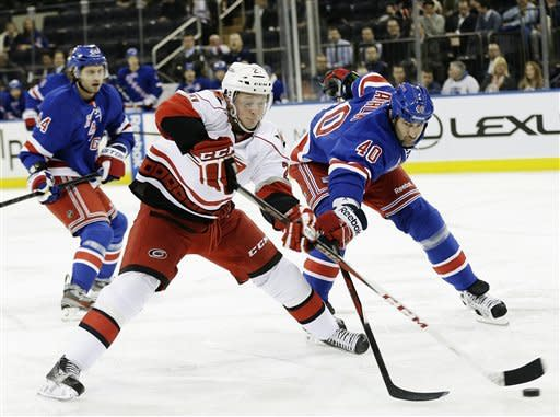 Carolina Hurricanes' Drayson Bowman (21) and New York Rangers' Roman Hamrlik (40) fight for control of the puck during the first period of an NHL hockey game, Monday, March 18, 2013, in New York. (AP Photo/Frank Franklin II)