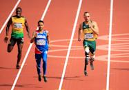 South Africa's Oscar Pistorius in the Men's 400m Heats during day eight of the London Olympic Games at the Olympic Stadium,, London.
