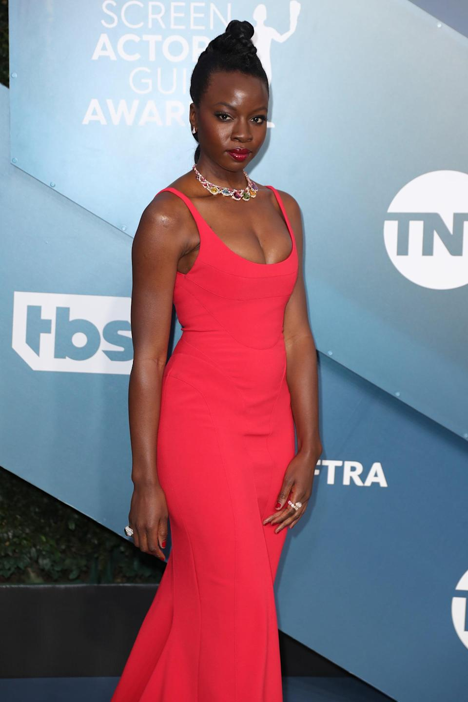 """<p>Gurira will bring her portrayal of Okoye, head of the Dora Milaje, back to the big screen in the <strong><a class=""""link rapid-noclick-resp"""" href=""""https://www.popsugar.com/latest/Black-Panther"""" rel=""""nofollow noopener"""" target=""""_blank"""" data-ylk=""""slk:Black Panther"""">Black Panther</a></strong> sequel. She also happens to be a true multihyphenate: in addition to acting in major roles like Okoye and <strong><a class=""""link rapid-noclick-resp"""" href=""""https://www.popsugar.com/The-Walking-Dead"""" rel=""""nofollow noopener"""" target=""""_blank"""" data-ylk=""""slk:The Walking Dead"""">The Walking Dead</a></strong>'s Michonne, she's a Tony-nominated playwright for her play <strong>Eclipsed</strong>.</p>"""