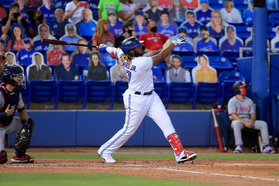 Vladimir Guerrero Jr. went absolutely berzerk at the plate against the Nationals on Tuesday, blasting three home runs including a monster grand-slam. (Getty)