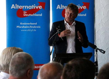 Joerg Meuthen of the anti-immigration party Alternative for Germany (AFD) speaks in Pforzheim, Germany, 30 July 2017. REUTERS/Andrea Shalal