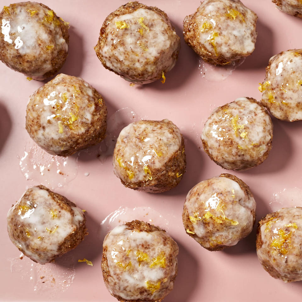 <p>Next time you have a Girl Scout Cookie craving, try these healthier no-bake cookies instead. Their bright and lemony flavor is balanced by sweetness from Medjool dates, and they're held together with millet and almond meal. Keeping the dough chilled and dusting your hands with confectioners' sugar will keep them from sticking to your hands while you shape them.</p>