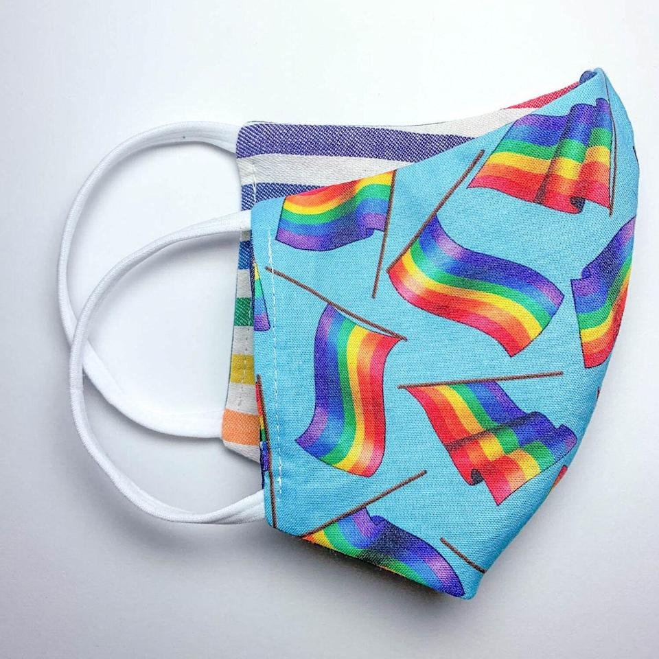 "<p>It's almost like getting two for the price of one with A/C Space's Limited Edition Pride Reversible Mask. Each side features a fun rainbow-themed design, and it includes two layers of comfortable cotton fabric. Half of the proceeds are donated to <a href=""https://www.aliforneycenter.org/"" rel=""nofollow noopener"" target=""_blank"" data-ylk=""slk:The Ali Forney Center,"" class=""link rapid-noclick-resp"">The Ali Forney Center,</a> whose mission is to protect homeless queer youths and empower them with the tools and resources needed to live independently. The brand is also LGBTQ+ founded. </p> <p><strong>$20</strong> (<a href=""https://www.theacspace.com/masks/limited-edition-pride-a-reversible-mask"" rel=""nofollow noopener"" target=""_blank"" data-ylk=""slk:Shop Now"" class=""link rapid-noclick-resp"">Shop Now</a>)</p>"