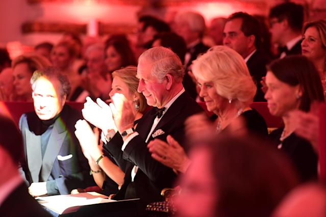 Prince Charles and Camilla at a Gala Concert at The Royal Opera House for his 70th birthday. (Getty Images)
