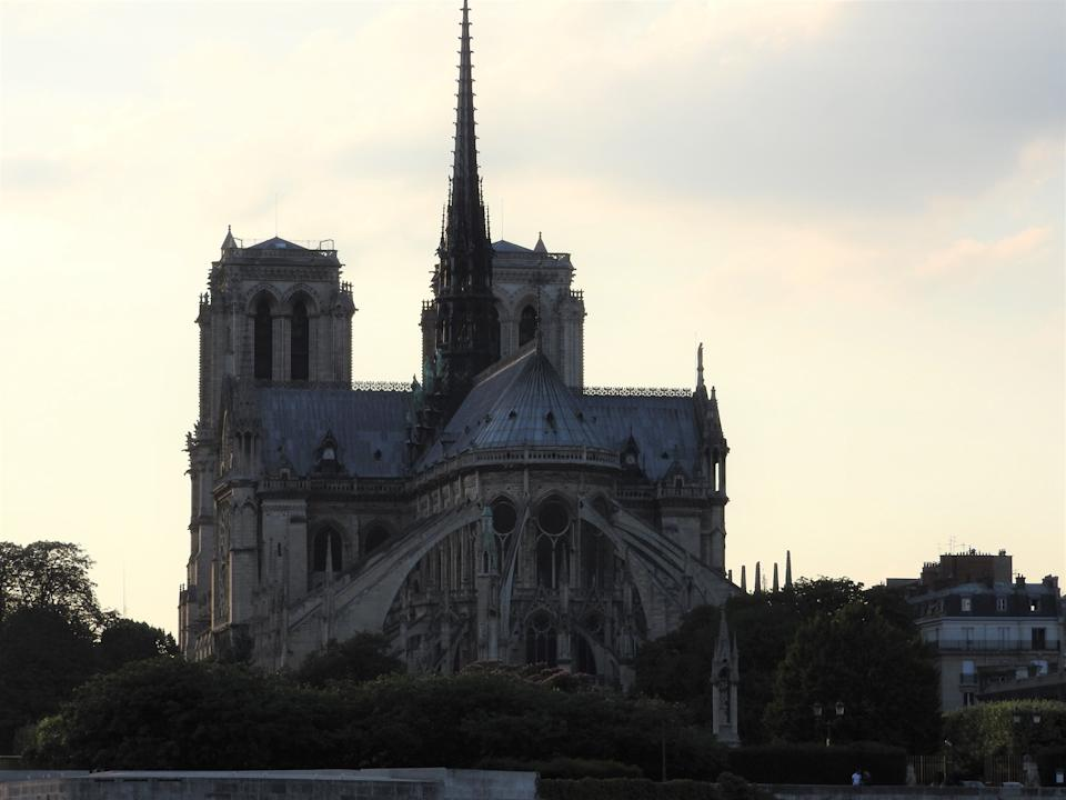 Notre Dame, the most beautiful Cathedral in Paris. View from the river Seine, France