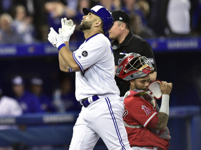 Toronto Blue Jays' Kendrys Morales celebrates after hitting a two-run home run off Los Angeles Angels starting pitcher Garrett Richards during the first inning of a baseball game Tuesday, May 22, 2018, in Toronto. (Frank Gunn/The Canadian Press via AP)