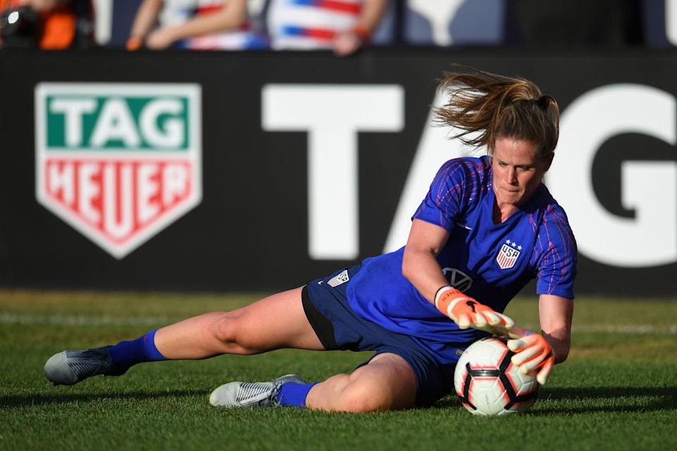 ST. LOUIS, MO - MAY 16: Alyssa Naeher #1 of the United States prior to an international friendly between the women's national teams of the United States and New Zealand on May 16, 2019 at Busch Stadium in St. Louis, Missouri. (Photo by Brad Smith/isiphotos/Getty Images)