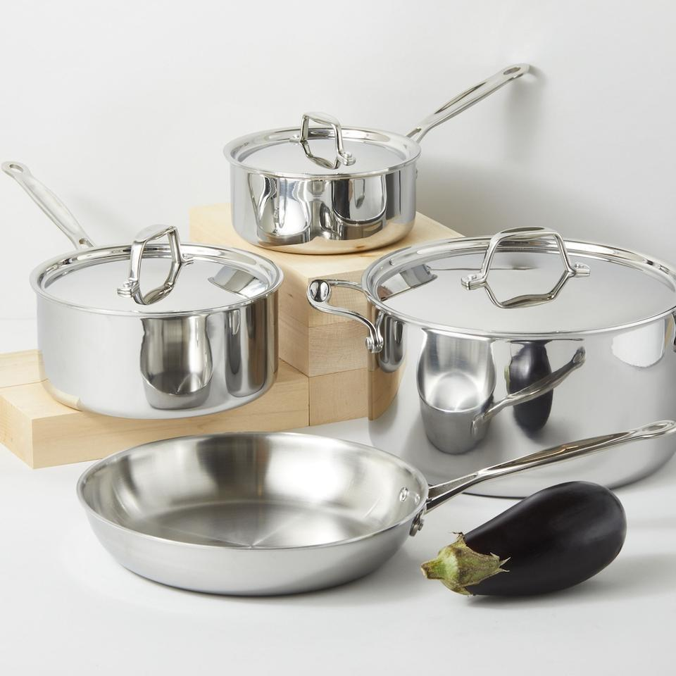 """<h2>Cookware Sets<br></h2><br><h3>Goldilocks Cookware Set </h3><br>Don't struggle in the kitchen trying to make breakfast, lunch, and dinner with just one sad skillet. Investing in a quality cookware doesn't have to blow up your budget. This seven-piece set (three lids, four pans) from Potluck is crafted with tri-ply stainless steel and will cover all your daily meal needs in sophisticated style.<br><br><em>Shop <strong><a href=""""https://cookgoldilocks.com/products/cookware-set"""" rel=""""nofollow noopener"""" target=""""_blank"""" data-ylk=""""slk:Goldilocks"""" class=""""link rapid-noclick-resp"""">Goldilocks</a></strong></em><br><br><strong>Goldilocks</strong> Cookware Set, $, available at <a href=""""https://go.skimresources.com/?id=30283X879131&url=https%3A%2F%2Fcookgoldilocks.com%2Fproducts%2Fcookware-set"""" rel=""""nofollow noopener"""" target=""""_blank"""" data-ylk=""""slk:Goldilocks"""" class=""""link rapid-noclick-resp"""">Goldilocks</a>"""