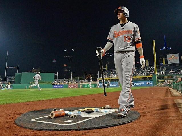 Manny Machado's an elite defender everywhere on the field. Even the on deck circle. (Getty Images)