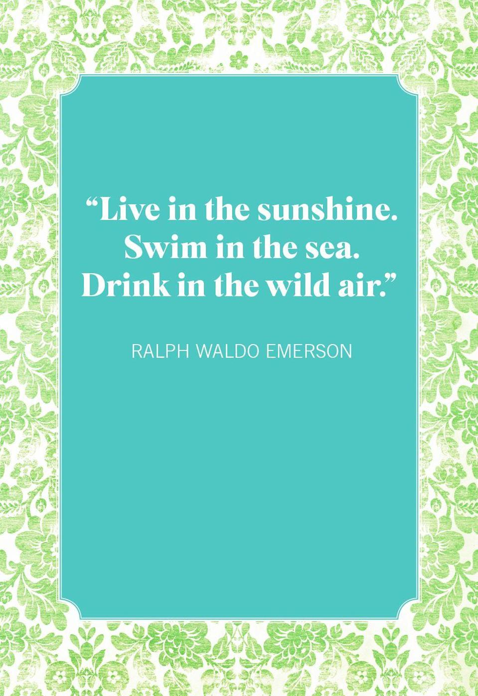 """<p>""""Live in the sunshine. Swim in the sea. Drink in the wild air.""""</p>"""