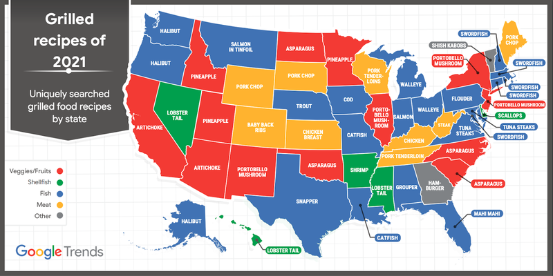 Map of the US with a different grilled food item listed within each state