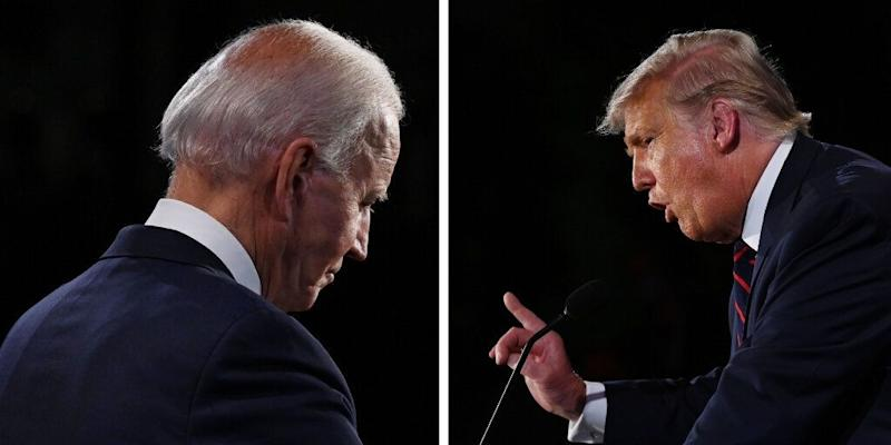 "Though Democratic presidential nominee Joe Biden had his outbursts (""Would you shut up, man?"" among them), for the most part, he stayed relatively calm when President Trump tried to get a rise out of him. (Photo: Olivier Douliery/Pool/Getty Images)"