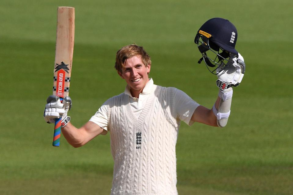 Zak Crawley celebrates reaching his double-century against Pakistan in August (Getty Images)