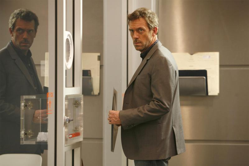 """In this image released by Fox, Hugh Laurie portrays Dr. Gregory House in a scene from """"House, M.D."""" The Fox medical drama concludes its eight-season run on Monday, May 21, 2012, with a finale at 9 p.m. EDT, preceded by a one-hour retrospective. (AP Photo/Fox, Isabella Vosmikova)"""