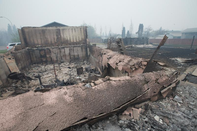 Home foundations and skeletons of possesions are all that remain in parts of a residential neighborhood destroyed by a wildfire on May 7, 2016 in Fort McMurray, Canada (AFP Photo/Scott Olson)