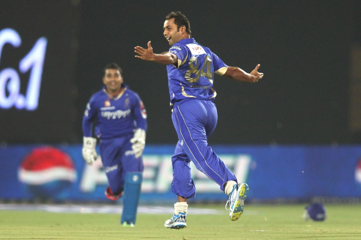 Stuart Binny of Rajasthan Royals celebrates after bowling Kieron Pollard of Mumbai Indians during match 23 of the Pepsi Indian Premier League (IPL) 2013 between The Rajasthan Royals and the Mumbai Indians held at the Sawai Mansingh Stadium in Jaipur on the 17th April 2013..Photo by Shaun Roy-IPL-SPORTZPICS ..Use of this image is subject to the terms and conditions as outlined by the BCCI. These terms can be found by following this link:..https://ec.yimg.com/ec?url=http%3a%2f%2fwww.sportzpics.co.za%2fimage%2fI0000SoRagM2cIEc&t=1498634615&sig=mqKA7xbDTH8SDdxd6bQtzQ--~C
