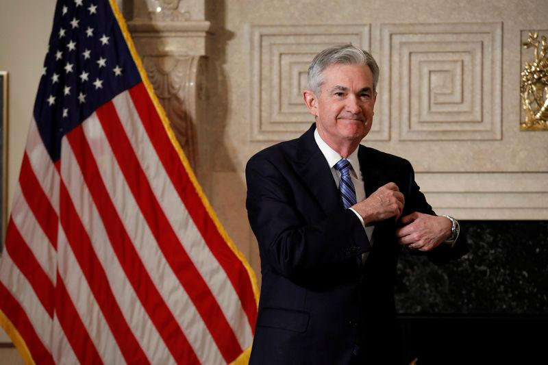 Federal Reserve Chairman Jerome Powell arrives to take the oath of office at the Federal Reserve in Washington
