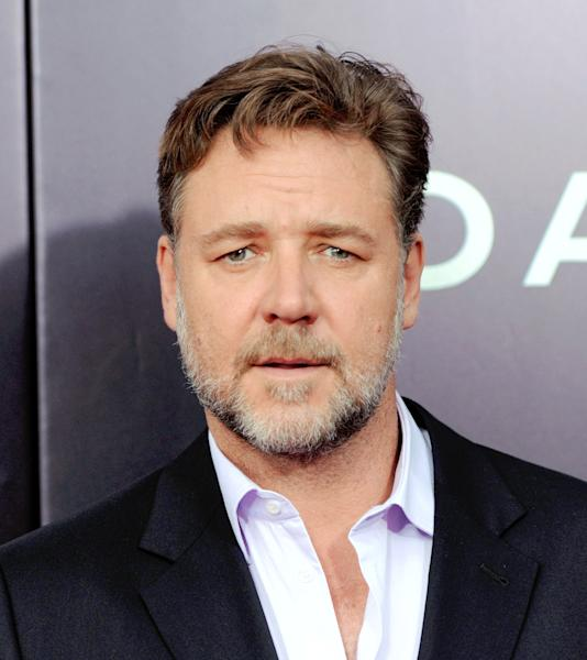 """Actor Russell Crowe attends the premiere of """"Noah"""" at the Ziegfeld Theatre on Wednesday, March 26, 2014, in New York. (Photo by Evan Agostini/Invision/AP)"""