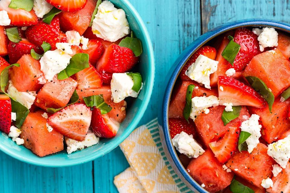 """<p>Step aside, all other fruit salads.</p><p>Get the recipe from <a href=""""https://www.delish.com/cooking/recipe-ideas/recipes/a47361/watermelon-strawberry-caprese-salad-recipe/"""" rel=""""nofollow noopener"""" target=""""_blank"""" data-ylk=""""slk:Delish"""" class=""""link rapid-noclick-resp"""">Delish</a>.</p>"""