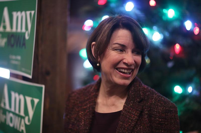 HUMBOLDT, IOWA - DECEMBER 27: Democratic presidential candidate Sen. Amy Klobuchar (D-MN) greets people during a campaign stop at Miller's Landing on December 27, 2019 in Humboldt, Iowa. The 2020 Iowa Democratic caucuses will take place on February 3, 2020, making it the first nominating contest for the Democratic Party in choosing their presidential candidate to face Donald Trump in the 2020 election. (Photo by Joe Raedle/Getty Images)