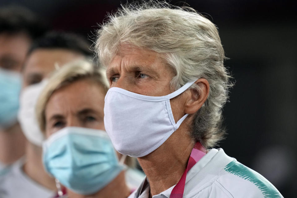 Brazil's coach Pia Sundhage watches his team prior to a women's soccer match against Netherlands at the 2020 Summer Olympics, Saturday, July 24, 2021, in Miyagi, Japan. (AP Photo/Andre Penner)