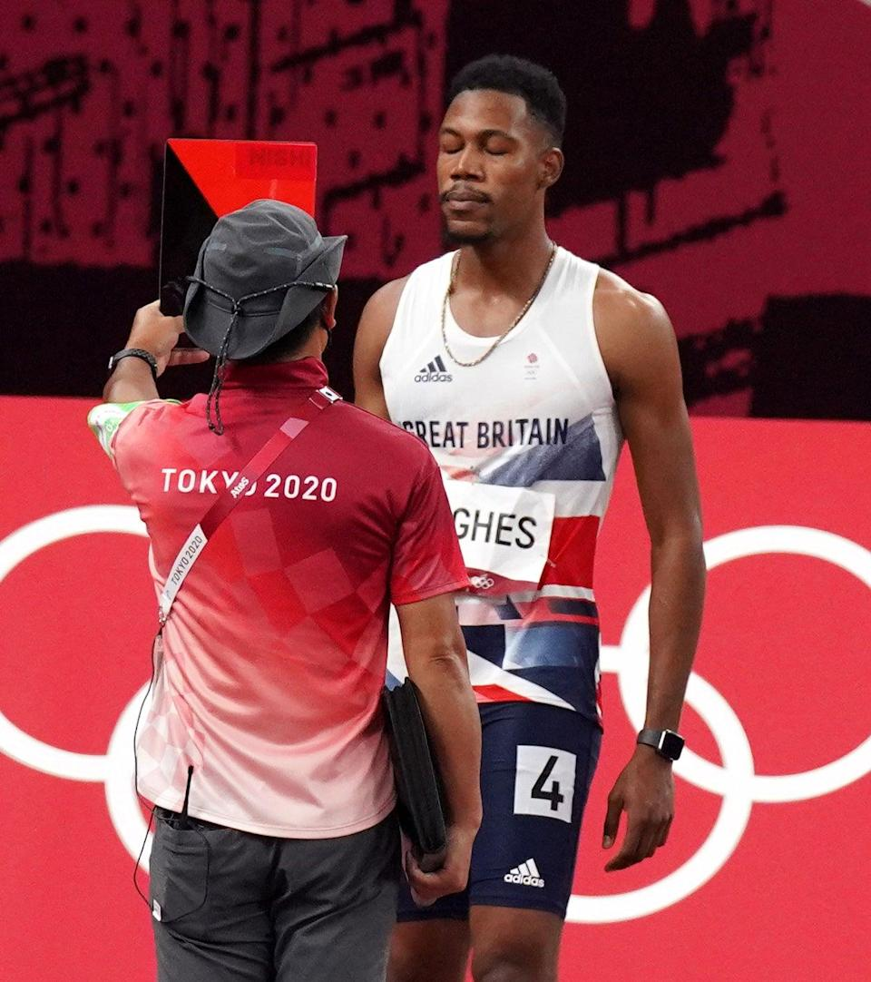 Great Britain's Zharnel Hughes was disqualified from the Men's 100 metres (Martin Rickett/PA) (PA Wire)