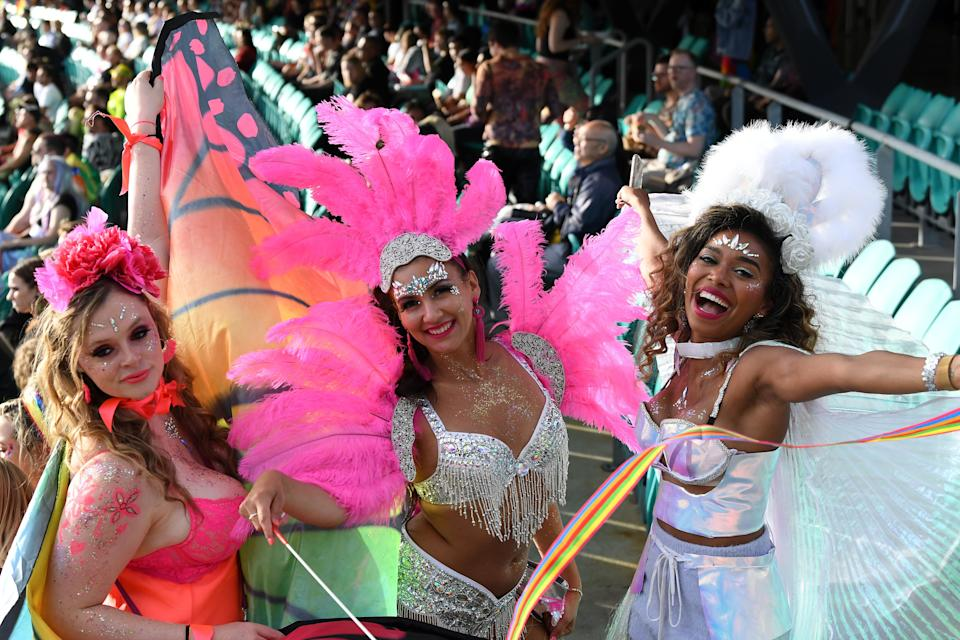 Spectators enjoy the atmosphere from the stands during the 43rd Sydney Gay and Lesbian Mardi Gras Parade at the SCG on March 06, 2021 in Sydney, Australia. (Photo: James D. Morgan/Getty Images)